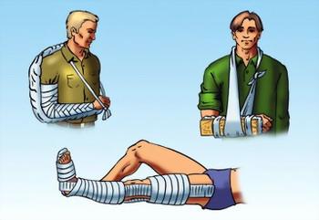 фиксирующие повязки при повреждении конечностей